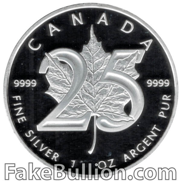 2013 Canadian Silver Maple 25th Anniversary 1 Ounce Silver Coin