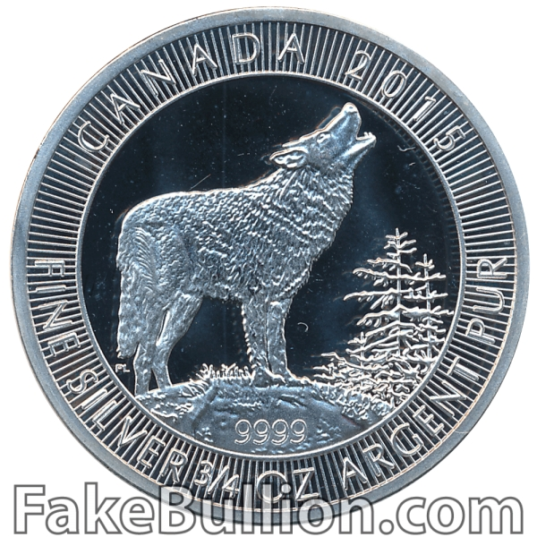 2015 Royal Canadian Mint Grey Wolf 3/4 Oz Silver Coin