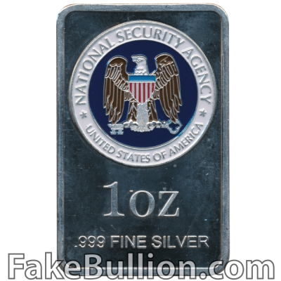 Generic National Security Agency Colorized 1 Ounce Silver Bar