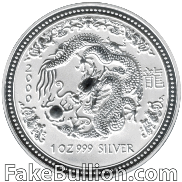 2000 Australian Lunar Dragon 1 Ounce Silver Coin
